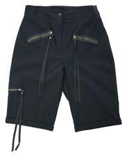 Girls Ladies Size 10-20 Fitted Waist Black Knee Length Shorts Imitation Pockets