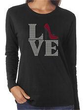 Love Shoes Funny Rhinestone Women's Long Sleeve Shirts High Heels