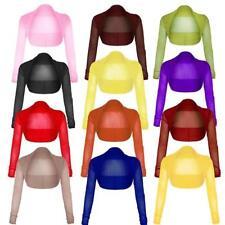 Womens Chiffon Long Sleeves Crop Top Plus Size Sheer Mesh Cropped Bolero Shrug