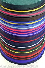 2,5,10,25 metros de 25mm de poliéster suave Aire Telaraña en 20 colores, Correas, conduce