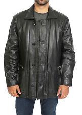 Gentlemens PARKA Soft Classic Leather Jacket Black Car Coat Mid Length Overcoat