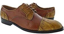 Mens Genuine Cognac Lizard Exotic Honey Crocodile Dress Shoes