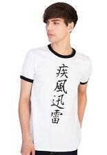 Japanese Ringer T Shirt Calligraphy Yoga Martial Arts Anime Manga Printed Mens