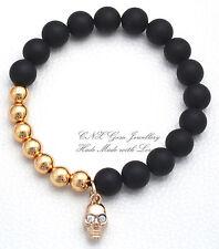 Hand Crafted Gem Beads Bracelet 18k Gold GP Black Matte Onyx Skull Charm Crystal