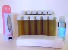 kit épilation cire roll on miel+huile+chauffe cartouche+100 bande d'epilation