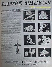 PUBLICITE LAMPE PHEBUS BD SIGNE LOCHARD 1910 FRENCH AD