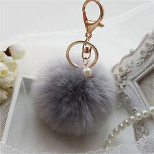 Decor Rabbit Fur Ball PomPom Cell Phone Car Keychain Pendant Handbag Key Ring