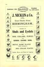 1912 Walsall J Nicklin Studs Eyelets Ad