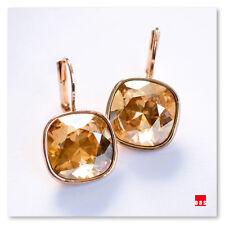 NYC Jewelry Studio Cushion Cut Golden Citrine Quartz Leverback Huggie Earrings