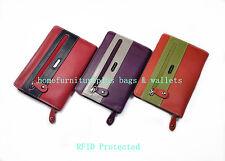 Franco Bonini Zip Around RFID Blocking Full Grain Genuine Leather Women's Wallet