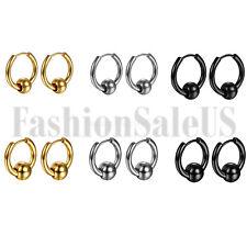 2PCS Stainless Steel Men Women Unisex Charm Bead Hoop Huggie Earrings Studs New
