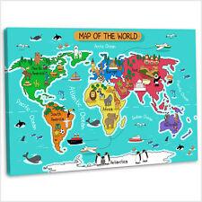 Dibujos Animados mapa del mundo para niños niños Lienzo Enmarcado Dormitorio Art Print .3