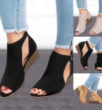 Summer Women Beach Open Peep-Toe Buklet Sandals Low Wedge Heel Shoes Size UK 3-8