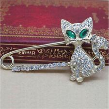 Shining Brooches for Women Animal Brooches Green Eye Crystal Cat Brooch Pin XBUK