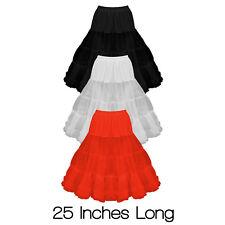 "25"" Long Vintage Soft Net 50s 60s Prom Rockabilly Dress Petticoat Skirt Slip"