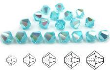Czech MC Glass Bicone Beads (Rondell/Diamond) Aqua AB blue,A.Bohemica AB crystal