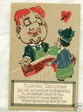 Old Postcard Comic Pleasant Salesman Working For Fun