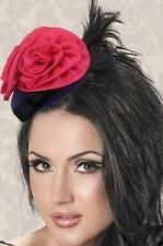 Pink Satin Flower Black Feather Fascinator Veil Costume Valentines Fashion 70328