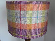 Handmade Harris Tweed Drum Lampshade in Orange, Purple and Beige Tartan