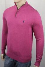 Polo Golf Ralph Lauren Pink Half 1/2 Zip Merino Wool Sweater Suede NWT $185
