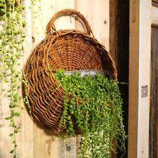 Rattan Flower Basket Shape Flower Plant Hanging Vase Container Home Indoor Offic