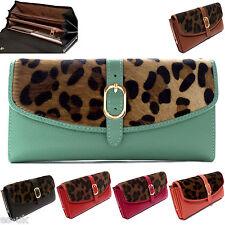 Womens / Ladies Genuine Leather Leopard Clutch Purse Black Hotpink Red