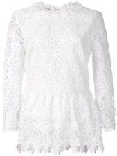 NUEVO OSCAR DE LA RENTA Peplo Seda Forro encaje guipur blusa top white 6 8