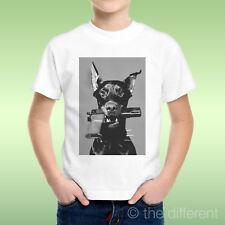 T-Shirt Bambino Ragazzo Dob Dobermann Pistola In Bocca Pistol Idea Regalo
