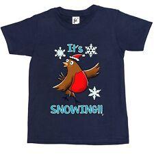 It's Snowing Robin Bird Singing In The Snowflakes Kids Boys / Girls T-Shirt