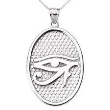 14k White Gold Eye of Horus Oval Pendant Necklace