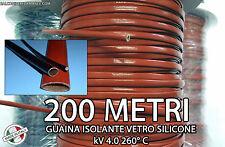 GUAINA ISOLANTE VETRO SILICONE ALTE TEMPERATURE bobina 200 Metri 4000V 260° C