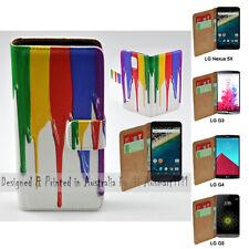 For LG Nexus 5X Stylus DAB+ G6 G5 G4 G3 Rainbow Paint Print Wallet Phone Case