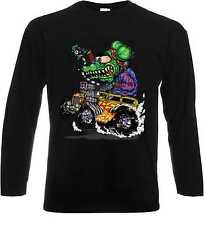 Camuflaje/manga larga camisa negra Hot Rod us Car &' 50 style motivo modelo Green monst