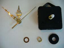 CLOCK MOVEMENT QUARTZ . LONG SPINDLE. 60mm GOLD HANDS