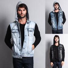 Victorious Men's Distressed Detachable Hoodie Denim Vest  DK108-GG1f