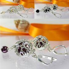 A143 Ohrringe 925 Sterling Silber Schmuck mit Swarovski Crystal Pearl Farbwahl