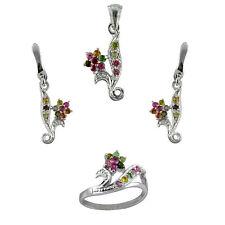 Genuine Multi Color Tourmaline Flower Design Fashion Sterling 925 Silver Set W8