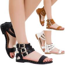 Sandali donna scarpe ecopelle cinturini fibbie argentate gladiatore zip 18124-22