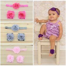 Baby Girl Flower Summer/Christening Hair Headband & Barefoot Pram Sandals Set