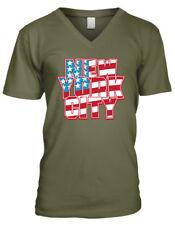 New York City Red White Blue America Big Apple Flag NYC Men's V-Neck T-Shirt