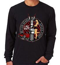 Velocitee Mens Long Sleeve T-Shirt Better Spark Vintage Pin Up Hot Rat Rod V30