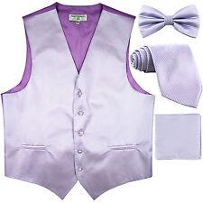 New men's vest waistcoat + bow tie + neck tie + hankie horizontal Lavender
