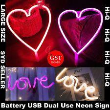 Love Heart LED Neon Sign Night Light Wall Bar Lamp Wedding X'mas USB Battery Dec
