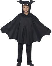 Children's Fancy Dress Halloween Party Book Week Day Hooded Bat Cape Black