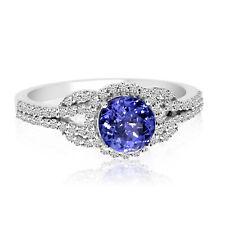 14k White Gold Round Tanzanite and Diamond Ring