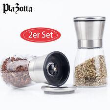 Gewürzmühle Set Edelstahl mit Keramikmahlwerk Salzmühle Pfeffermühle Chilimühle