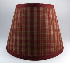 Primitive Burgundy Sturbridge Plaid Homespun Fabric Lampshade Lamp Shade