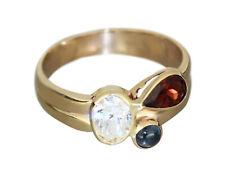 Ring Gold 585 multicolor Edelsteine Granat Saphir Zirkonia Goldring 14 Karat