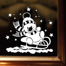 Sticker mural décor de fenêtre AUTOCOLLANT BONHOMME neige luge étoiles blanc