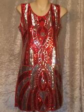 Red & Silver Sequin Dress in Art Deco Pattern